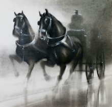 Animals Charcoal Art Painting title Horse Carriage 3 by artist Ganesh Hire