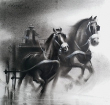 Ganesh Hire | Charcoal Painting title Horse Carriage 4 on Paper | Artist Ganesh Hire Gallery | ArtZolo.com