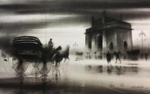 Cityscape Charcoal Art Painting title 'Horse Carriage 5' by artist Ganesh Hire