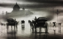 Cityscape Charcoal Art Painting title Horse Carriage 6 by artist Ganesh Hire