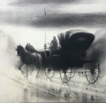 Animals Charcoal Art Painting title 'Horse Carriage 8' by artist Ganesh Hire