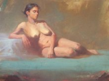 Nude Oil Art Painting title Sitted Nude by artist Ganesh Hire