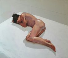 Nude Acrylic Art Painting title Sleeping Nude III by artist Ganesh Hire