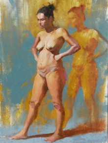 Nude Oil Art Painting title Standing Nude by artist Ganesh Hire