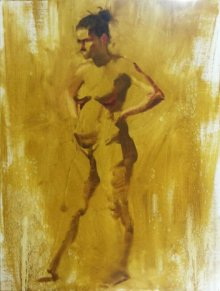 Ganesh Hire | Oil Painting title Standing Nude 1 on Canvas | Artist Ganesh Hire Gallery | ArtZolo.com