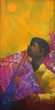Figurative Acrylic Art Painting title 'Boy with a Kite' by artist Sachin Akalekar