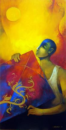 Fantasy Acrylic Art Painting title 'Kite' by artist Sachin Akalekar