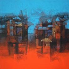 Cityscape Acrylic Art Painting title 'Cityscape' by artist Sachin Akalekar