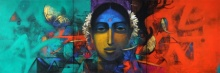 Figurative Acrylic Art Painting title 'Indian Woman' by artist Sachin Akalekar