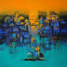 Cityscape Acrylic Art Painting title 'My Village' by artist Sachin Akalekar