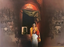 Religious Oil Art Painting title Banaras by artist Amit Bhar