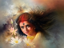 Religious Acrylic-oil Art Painting title 'Lord Durga' by artist Amit Bhar