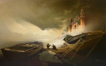 Amit Bhar Paintings | Oil Painting - Misty Banaras Ghat by artist Amit Bhar | ArtZolo.com