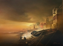 Amit Bhar Paintings | Oil Painting - Banaras Ghat by artist Amit Bhar | ArtZolo.com