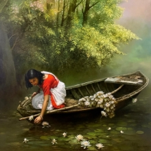 Religious Oil Art Painting title Childhood by artist Amit Bhar