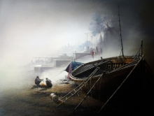 Religious Oil Art Painting title Banaras Ghat Morning by artist Amit Bhar