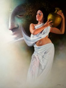 Nude Acrylic-oil Art Painting title 'Affection 2' by artist Amit Bhar