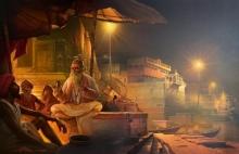 Cityscape Acrylic-oil Art Painting title Banaras by artist Amit Bhar