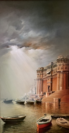 Cityscape Oil Art Painting title Banaras Ghat by artist Amit Bhar