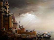 Cityscape Oil Art Painting title 'Banaras Ghat 11' by artist Amit Bhar
