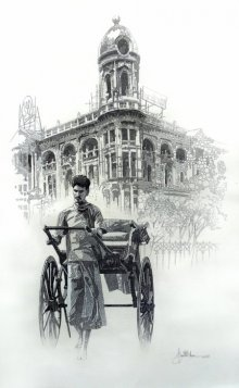 Figurative Pen Art Drawing title City Of Kolkata 1 by artist Amit Bhar