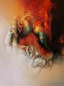 Religious Acrylic-oil Art Painting title 'Ganesha' by artist Amit Bhar