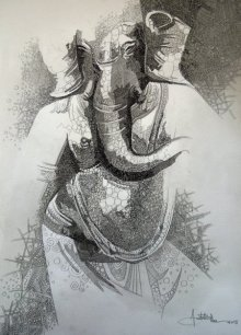 Religious Pen Art Drawing title Ganesha 2 by artist Amit Bhar