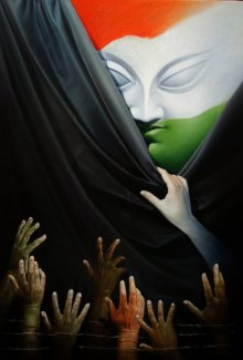 Figurative Acrylic-oil Art Painting title Honest Effort by artist Amit Bhar