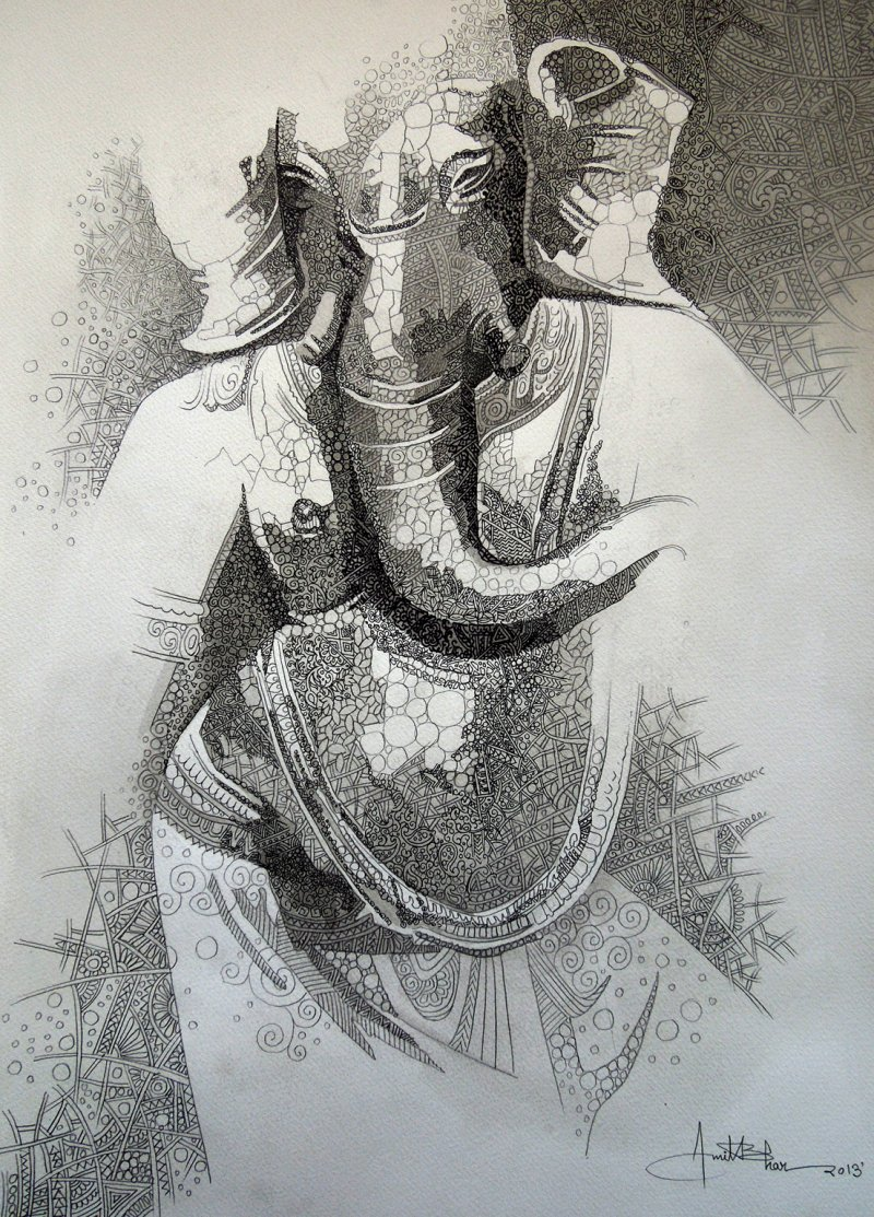 Ganesha 2 drawing by artist amit bhar pen paper