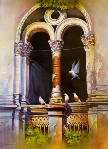 Cityscape Watercolor Art Painting title Old Heritage 2 by artist Amit Bhar