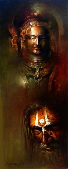 Figurative Acrylic-oil Art Painting title 'Pujari' by artist Amit Bhar