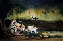 Animals Watercolor Art Painting title 'Village 2' by artist Amit Bhar