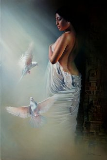 Wet Woman2 | Painting by artist Amit Bhar | acrylic-oil | Canvas