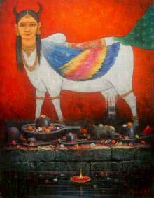Kamdhenu | Painting by artist Paramesh Paul | acrylic | Canvas