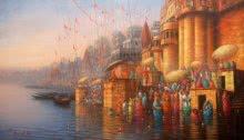 Landscape Acrylic Art Painting title 'Banaras Ghat 1' by artist Paramesh Paul