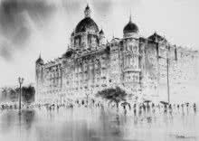 Cityscape Charcoal Art Painting title 'Hotel Taj' by artist Mukhtar Kazi