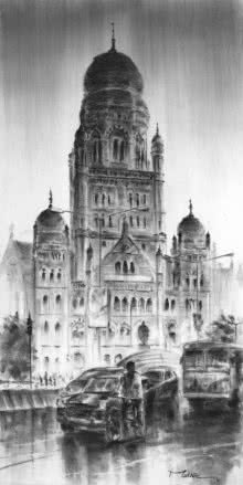 Cst 20 | Painting by artist Mukhtar Kazi | charcoal | Paper