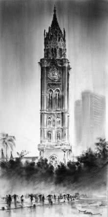 Cityscape Charcoal Art Painting title 'Rajabai Clock Tower' by artist Mukhtar Kazi