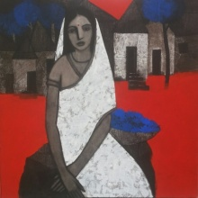 Figurative Acrylic Art Painting title 'Lady With Blue Flowers' by artist Nagesh Ghodke