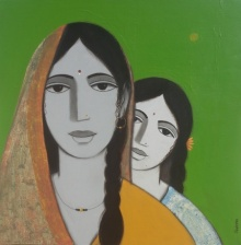 Figurative Acrylic Art Painting title Mother Daughter 2 by artist Nagesh Ghodke