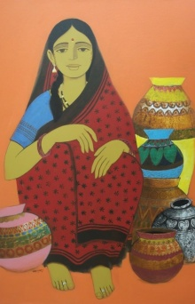 Figurative Acrylic Art Painting title 'Pot Seller' by artist Nagesh Ghodke