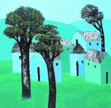 Cityscape Acrylic Art Painting title 'Village 61' by artist Nagesh Ghodke