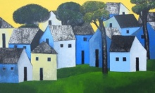 Cityscape Acrylic Art Painting title 'Village 67' by artist Nagesh Ghodke
