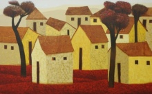 Cityscape Acrylic Art Painting title 'Village 75' by artist Nagesh Ghodke