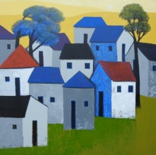 Cityscape Acrylic Art Painting title 'Village 76' by artist Nagesh Ghodke