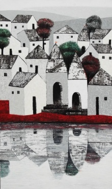 Cityscape Acrylic Art Painting title 'Village 77' by artist Nagesh Ghodke