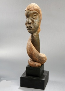Wood Sculpture titled 'Distortion Of The Face 7' by artist Sucharita Adhikary