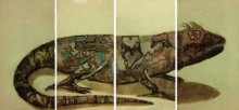 Etching Paintings | Drawing title Chameleon II on Paper | Artist Atul Bangal