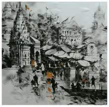 art, beauty, painting, canvas, acrylic, banaras ghat, black and white