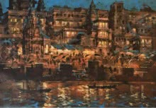 art, beauty, painting, canvas, acrylic, banaras ghat, night